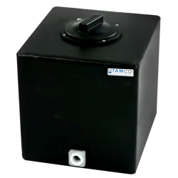 "7 Gallon Black Molded Polyethylene Tamco® Tank with Lid & 3/4"" FNPT Fitting - 13"" L x 12"" W x 14"" Hgt."