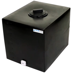 "16 Gallon Black Molded Polyethylene Tamco® Tank with Lid & 3/4"" FNPT Fitting - 18.5"" L x 15"" W x 16"" Hgt."
