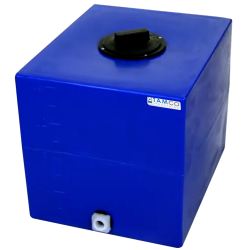 "16 Gallon Blue Molded Polyethylene Tamco® Tank with Lid & 3/4"" FNPT Fitting - 18.5"" L x 15"" W x 16"" Hgt."