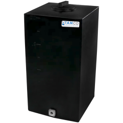 "20 Gallon Black Molded Polyethylene Tamco® Tank with Lid & 3/4"" FNPT Fitting - 14"" L x 12"" W x 31"" Hgt."
