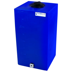 "20 Gallon Blue Molded Polyethylene Tamco® Tank with Lid & 3/4"" FNPT Fitting - 14"" L x 12"" W x 31"" Hgt."