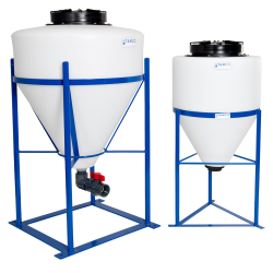 "100 Gallon Cone Bottom Tank with Mixer Mounts & 2"" FPT Boss Fitting Package (Full Drain)"