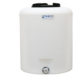 "20 Gallon Tamco® Vertical Natural PE Tank with 8"" Lid & 3/4"" Fitting - 19"" Dia. x 23"" High"