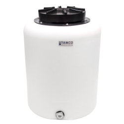 "20 Gallon Tamco® Vertical Natural PE Tank with 12.5"" Lid & 3/4"" Fitting - 19"" Dia. x 24"" High"