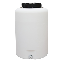 "25 Gallon Tamco® Vertical Natural PE Tank with 12-1/2"" Lid & 3/4"" Fitting - 19"" Dia. x 29"" High"