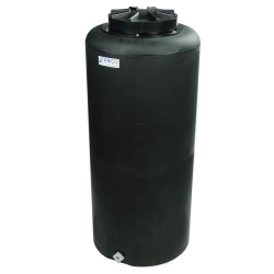 "40 Gallon Tamco® Vertical Black PE Tank with 12-1/2"" Lid & 3/4"" Fitting - 19"" Dia. x 43"" High"