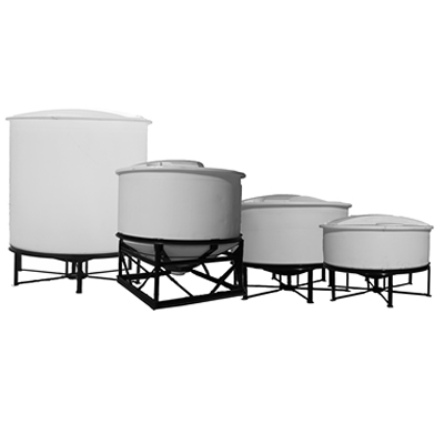 Open Top  Cone Bottom Polyethylene Tanks with Bolt On Covers