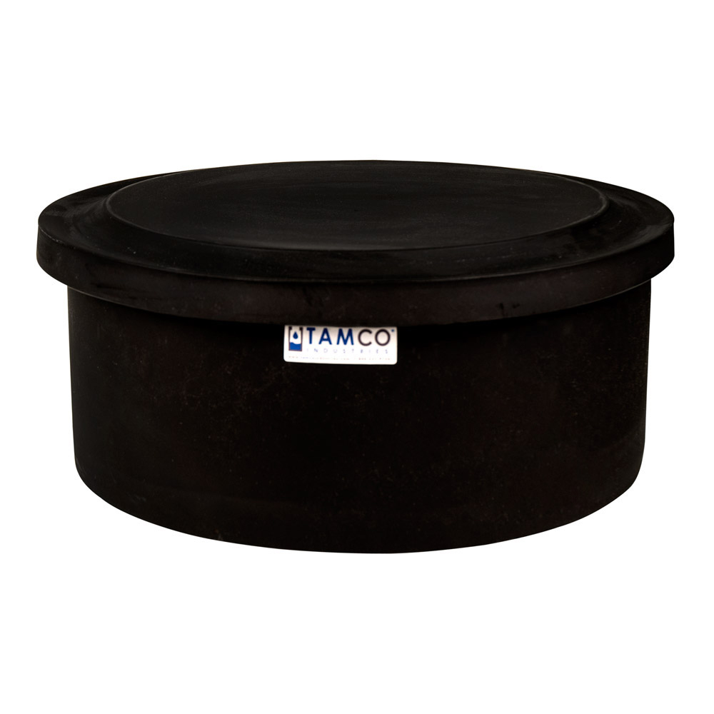 "6 Gallon Black Polyethylene Shallow Tank with Cover - 7"" High"