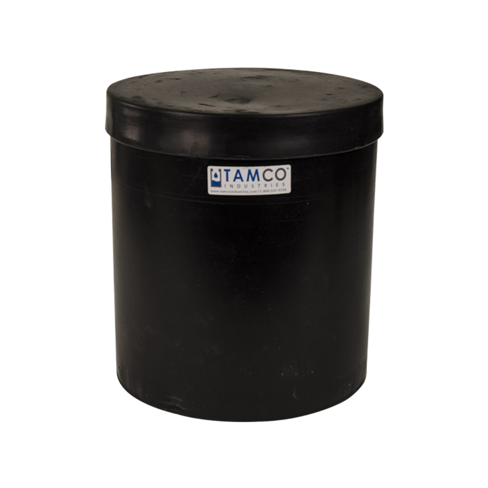 """3-1/2 Gallon Black Plating Tank with Cover - 10"""" Dia. x 11"""" High"""