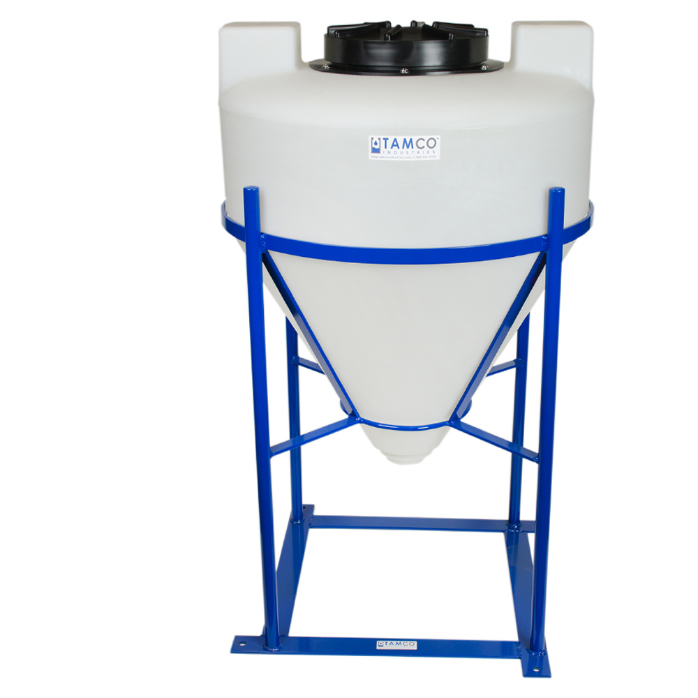 "30 Gallon Cone Bottom Tank with Mixer Mounts & 2"" FPT Bulkhead Fitting - 26"" Diameter x 31"" High"