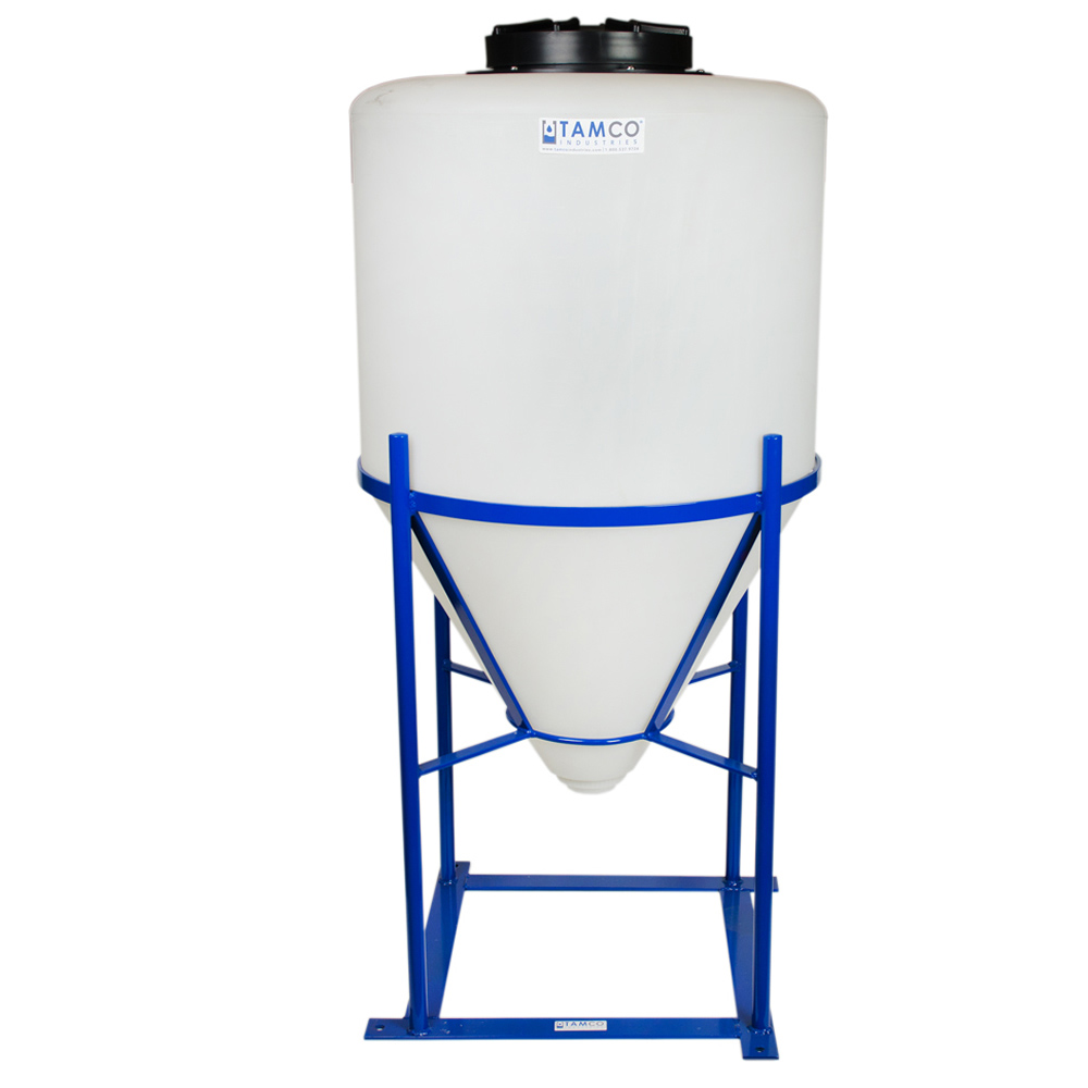 "55 Gallon Cone Bottom Tank with  1.5"" FNPT Boss Fitting (Full Drain) - 26"" Diameter x 40"" High"