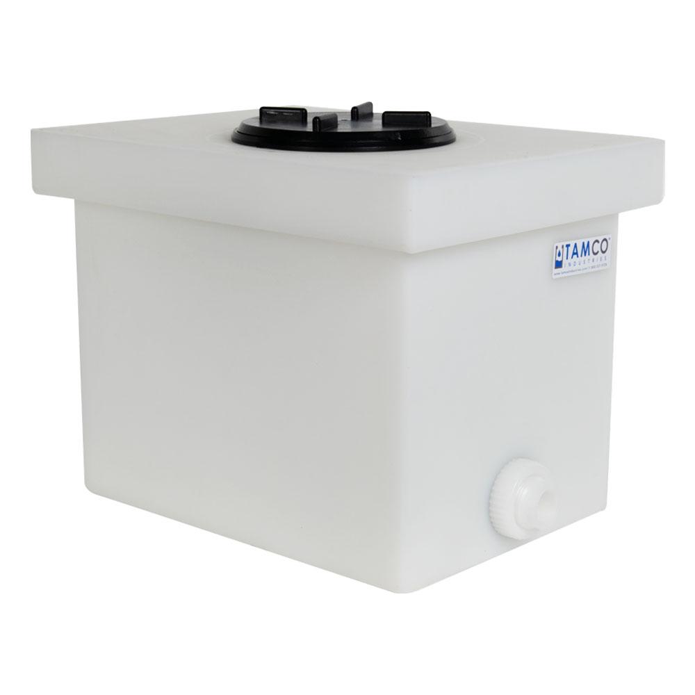 "6 Gallon Natural Polyethylene Tank with 5"" Lid & 3/4"" FNPT Polypropylene Bulkhead - 14"" L x 10"" W x 10"" H"