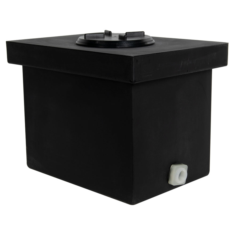 "6 Gallon Black Polyethylene Tank with 5"" Lid & 3/4"" FNPT Polypropylene Bulkhead - 14"" L x 10"" W x 10"" H"