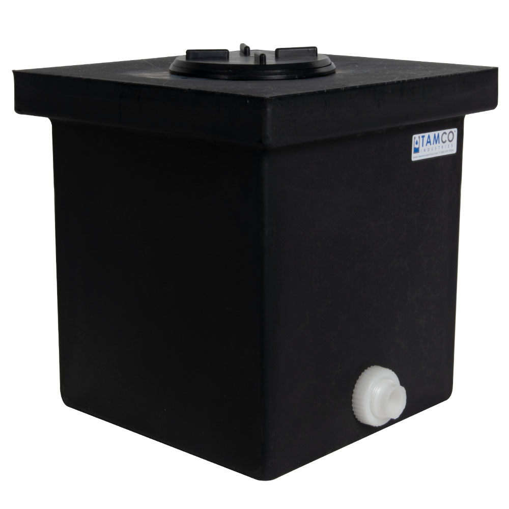 "14 Gallon Black Polyethylene Tank with 5"" Lid & 3/4"" FNPT Polypropylene Bulkhead - 12"" L x 12"" W x 24"" H"