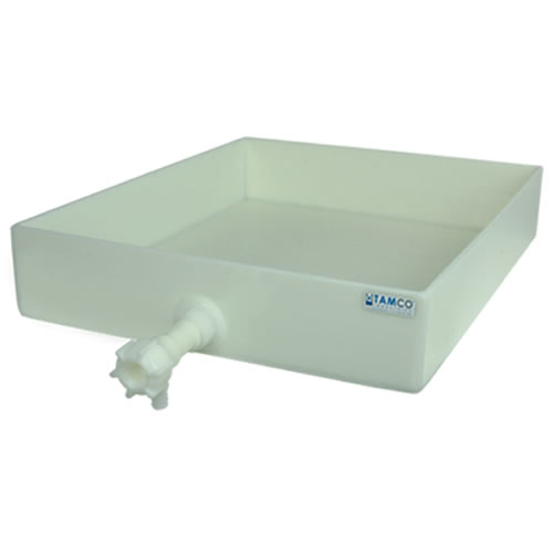 "14"" L x 14"" W x 3"" H Polypropylene Tray with Spigot"