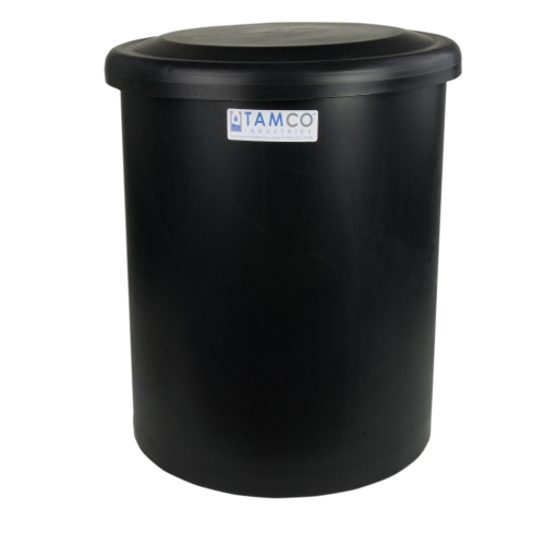"52 Gallon Black Round Tank with Cover - 22"" Dia. x 33"" High"