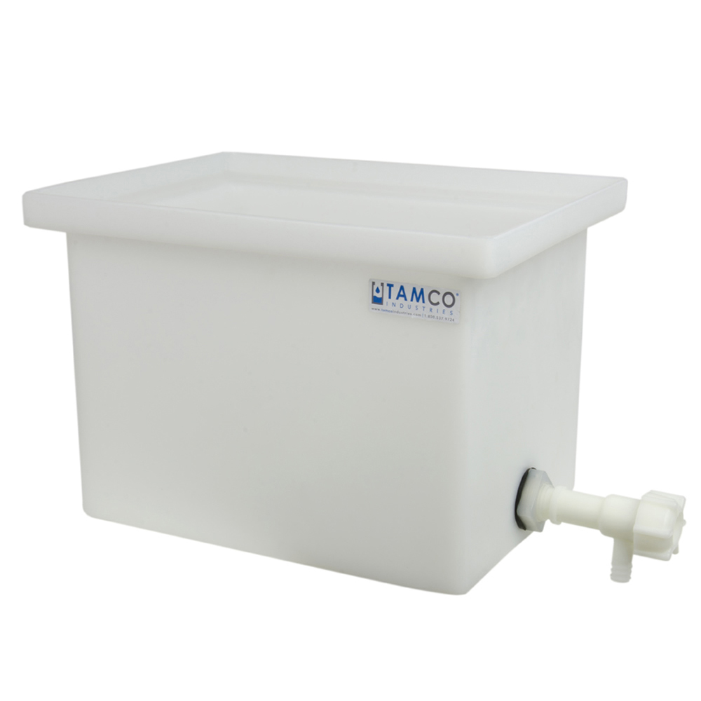 "6 Gallon Polyethylene Tank with Spigot - 12"" L x 12"" W x 12"" H"