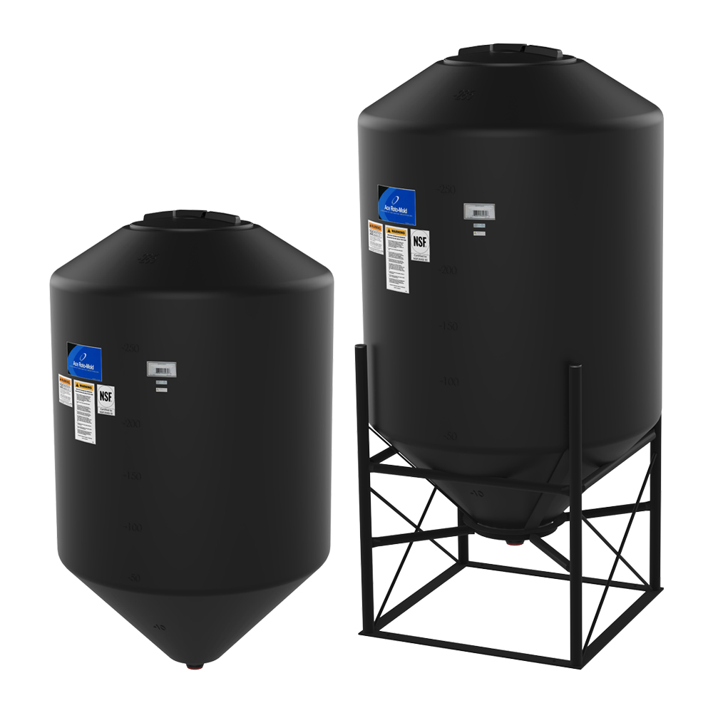 "2000 Gallon 30° Cone Bottom, Dome Top Black Tank w/16"" Lid - 96"" Dia x 96"" H"