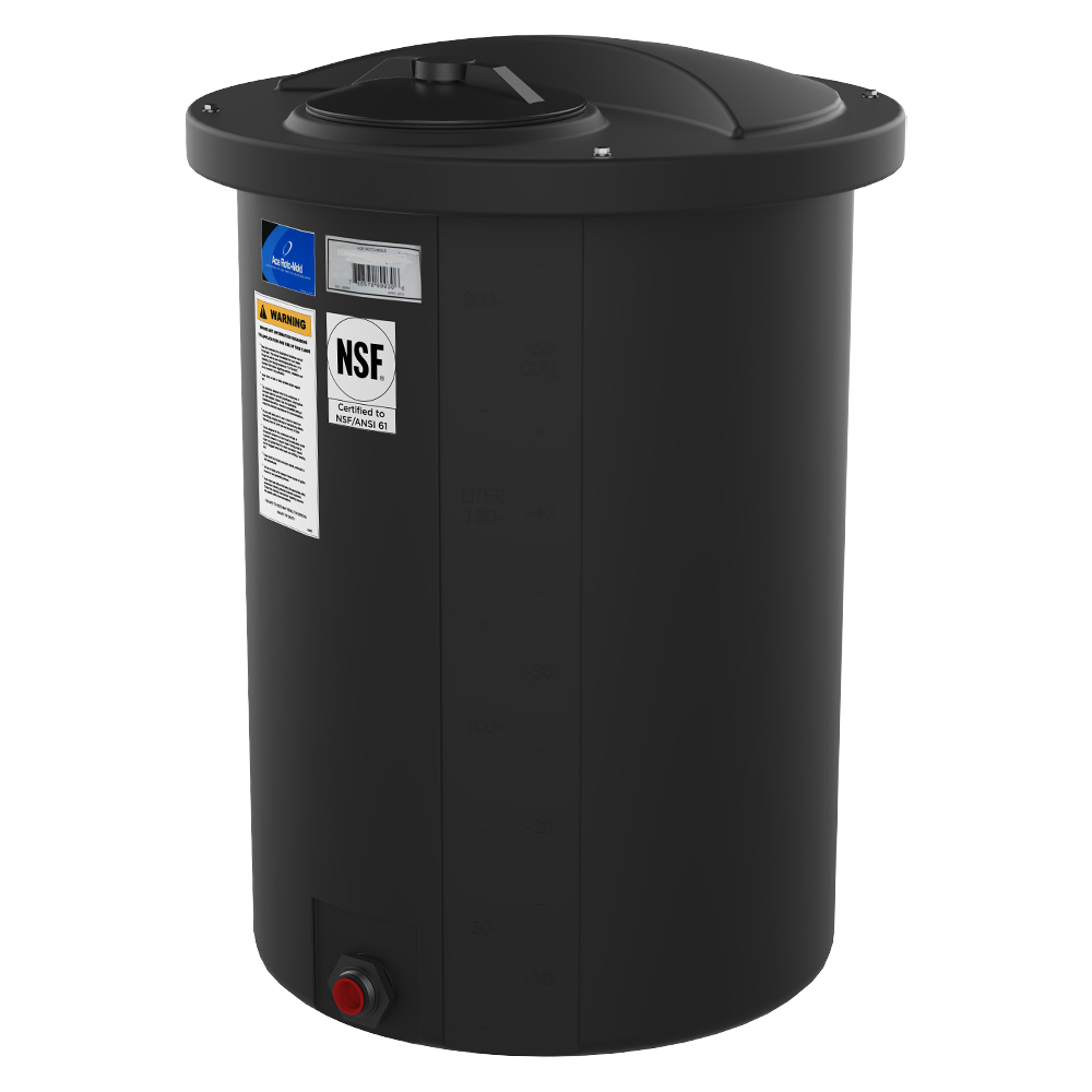 "200 Gallon Black Open-Top Vertical Batch Tank w/ Bolt On Cover 36"" x 51"""