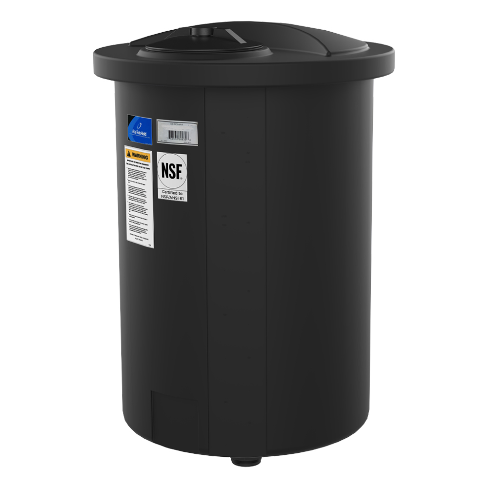 "325 Gallon Black Closed Top 15° Cone Bottom Batch Tanks - 36"" Dia. x 84"" H"