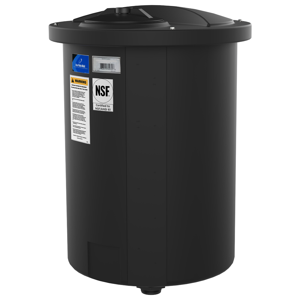 "145 Gallon Black Open-Top 15° Cone Bottom Batch Tanks with Bolt On Cover - 36"" Dia. x 41"" H"