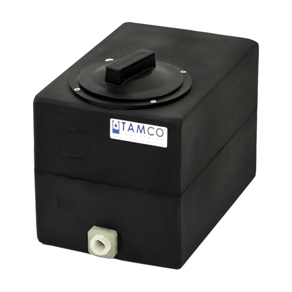 "2.5 Gallon Black Molded Polyethylene Tank with Lid & 1/2"" FNPT Fitting - 12"" L x 8"" W x 10"" H"
