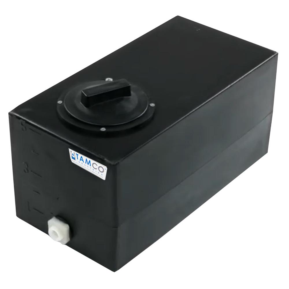"5 Gallon Black Molded Polyethylene Tank with Lid & 1/2"" FNPT Fitting - 18"" L x 9"" W x 10"" H"