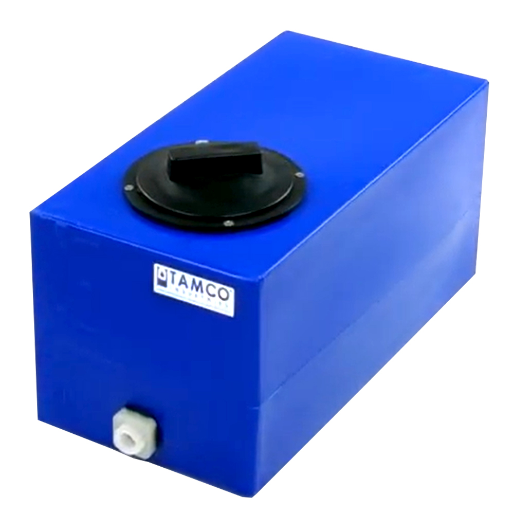 """5 Gallon Blue Molded Polyethylene Tamco® Tank with Lid & 1/2"""" FNPT Fitting - 18"""" L x 9"""" W x 10"""" Hgt."""