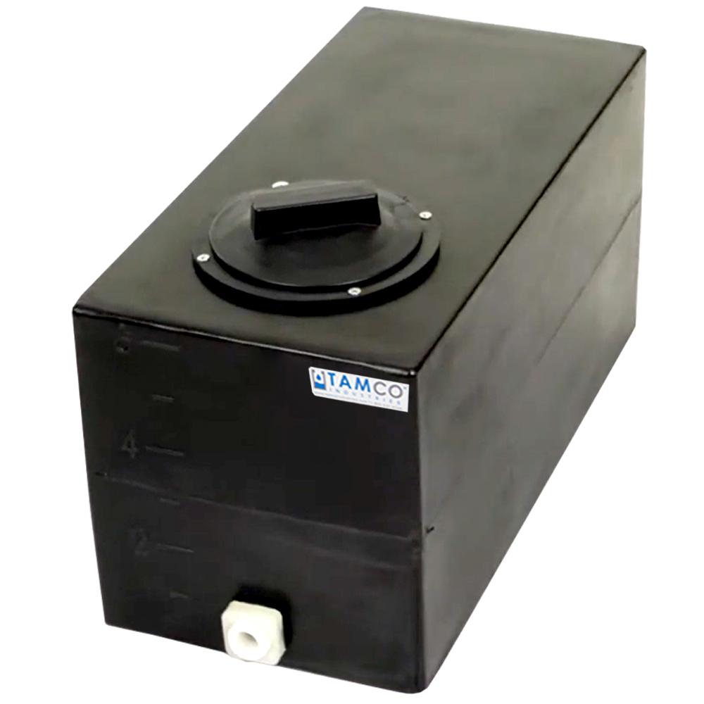 "6 Gallon Black Molded Polyethylene Tank with Lid & 1/2"" FNPT Fitting - 19"" L x 9.5"" W x 11"" H"