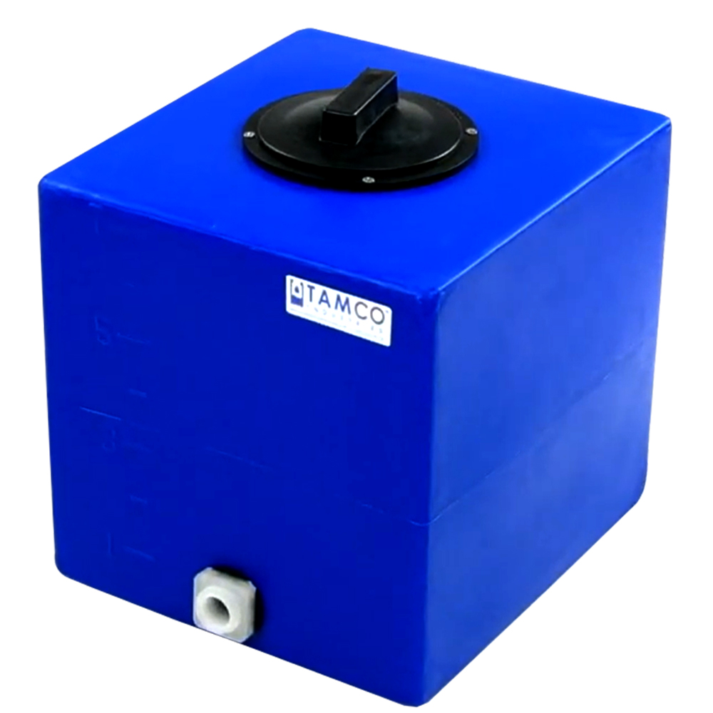 """7 Gallon Blue Molded Polyethylene Tamco® Tank with Lid & 3/4"""" FNPT Fitting - 13"""" L x 12"""" W x 13-1/2"""" Hgt."""