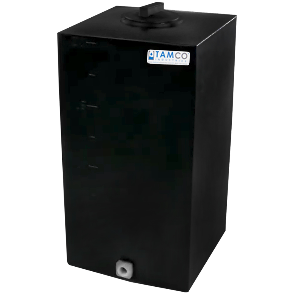 """20 Gallon Black Molded Polyethylene Tamco® Tank with Lid & 3/4"""" FNPT Fitting - 14"""" L x 14"""" W x 27"""" Hgt."""