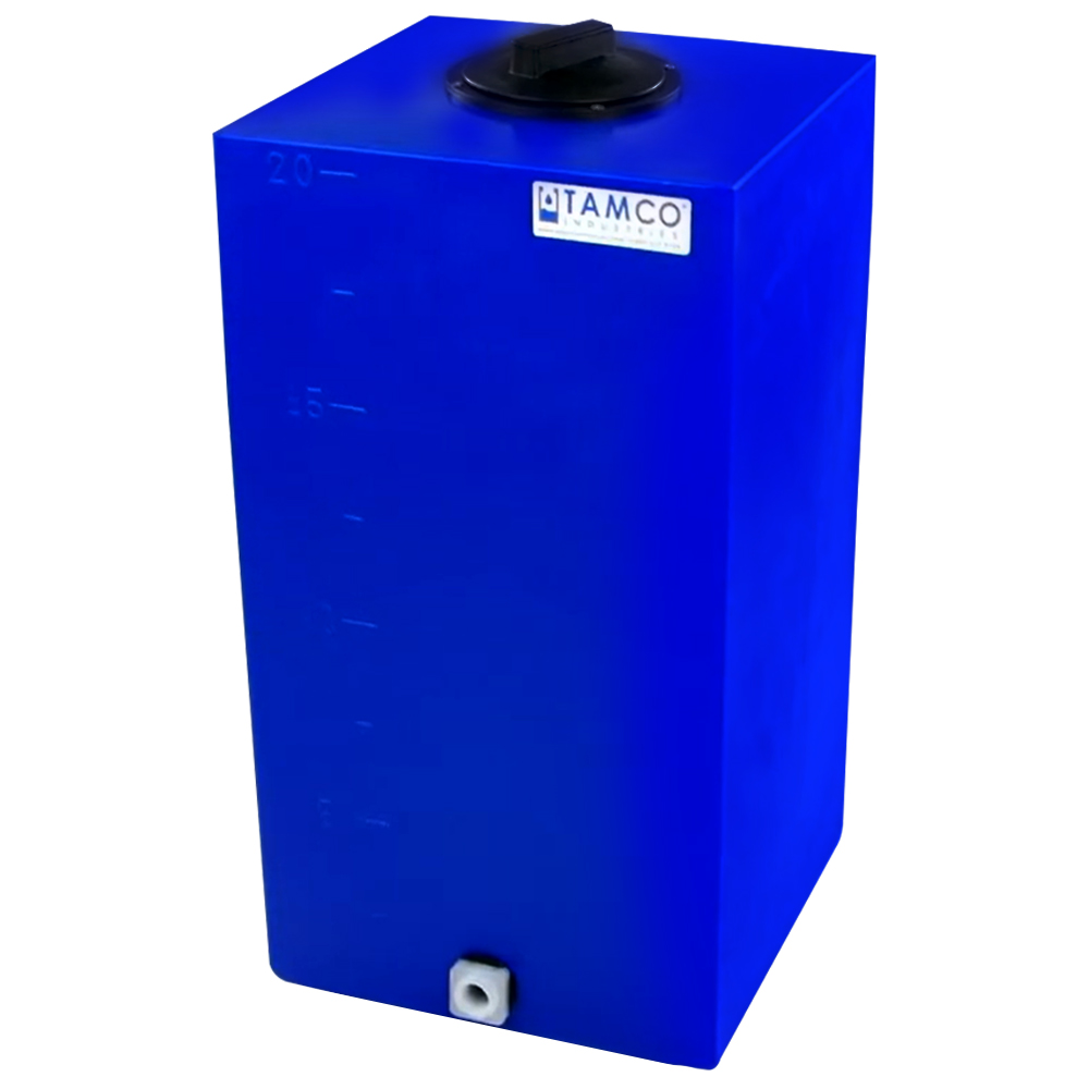 """20 Gallon Blue Molded Polyethylene Tamco® Tank with Lid & 3/4"""" FNPT Fitting - 14"""" L x 14"""" W x 27"""" Hgt."""