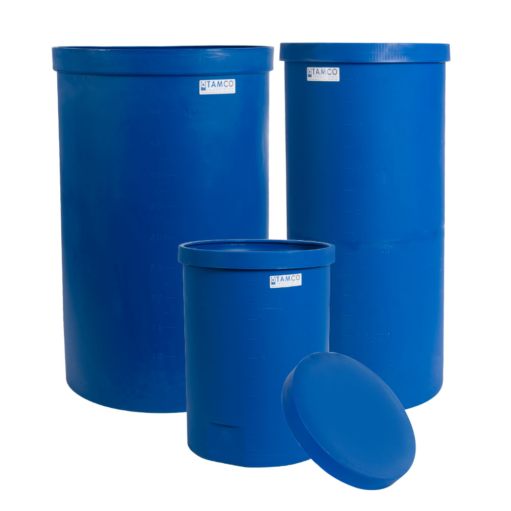 "25 Gallon Blue Heavy Wall Open Top Tamco® Tank - 18-3/8"" Dia. X 26"" High"