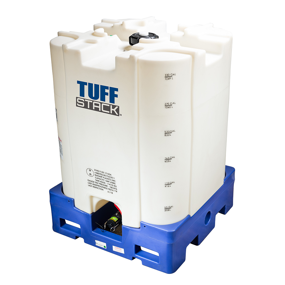 330 Gallon HDPE Tuff Stack™ IBC Tank with Viton™ Gasket