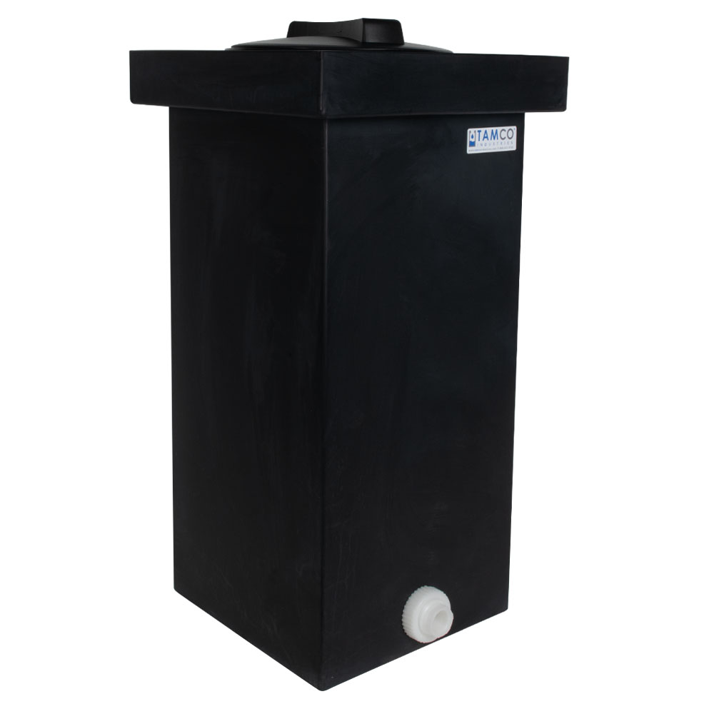 "14 Gallon Black Polyethylene Tamco® Tank with 8"" Lid & 3/4"" FNPT Polypropylene Bulkhead - 12"" L x 12"" W x 24"" Hgt."