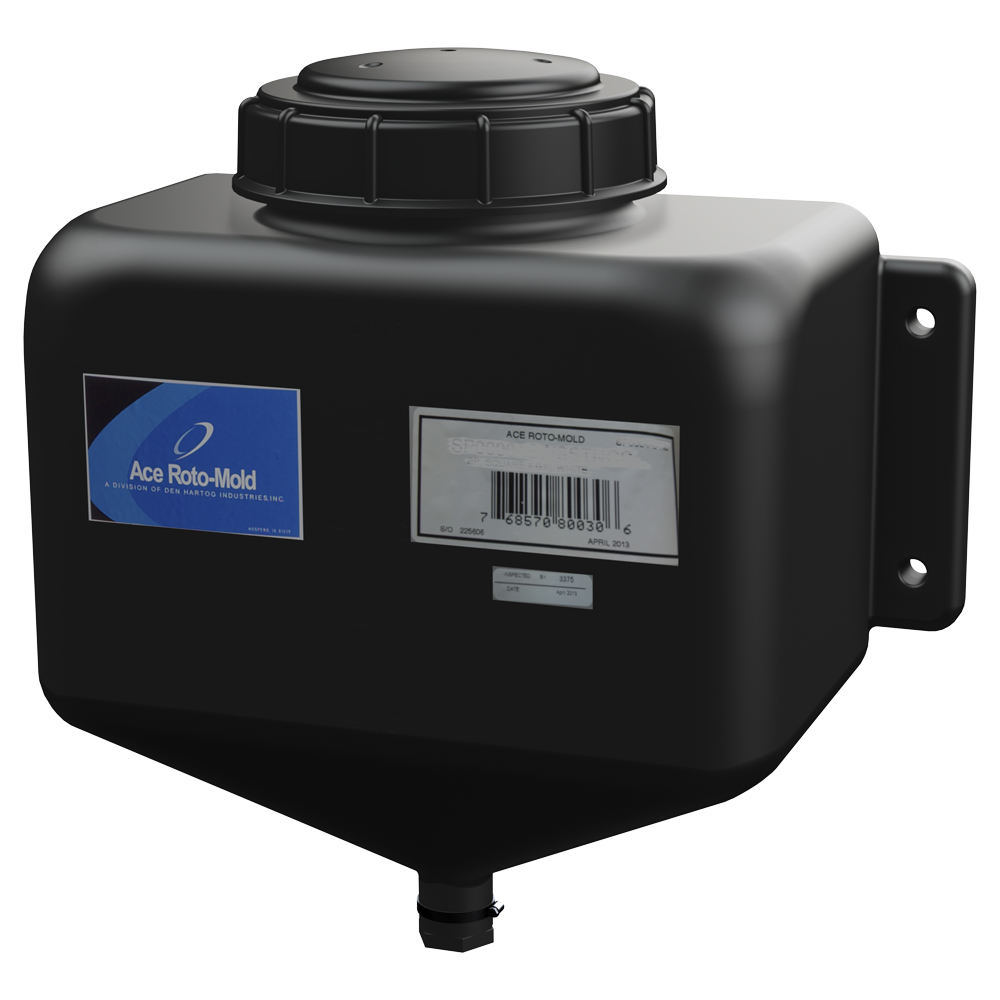 """2.5 Gallon Black Rectangle Rinse Tank w/5"""" Lid & 3/4"""" Molded-in Threads - 15"""" L x 7"""" W x 14"""" Hgt."""