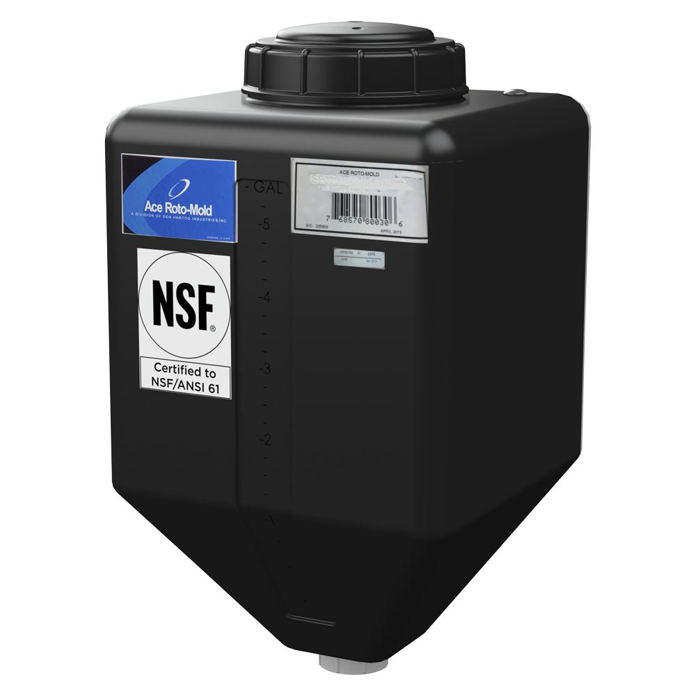 """5 Gallon Black Square Rinse Tank w/5"""" Lid & 1-1/4"""" Spinweld Fitting - 11"""" L x 11"""" W x 20"""" Hgt."""