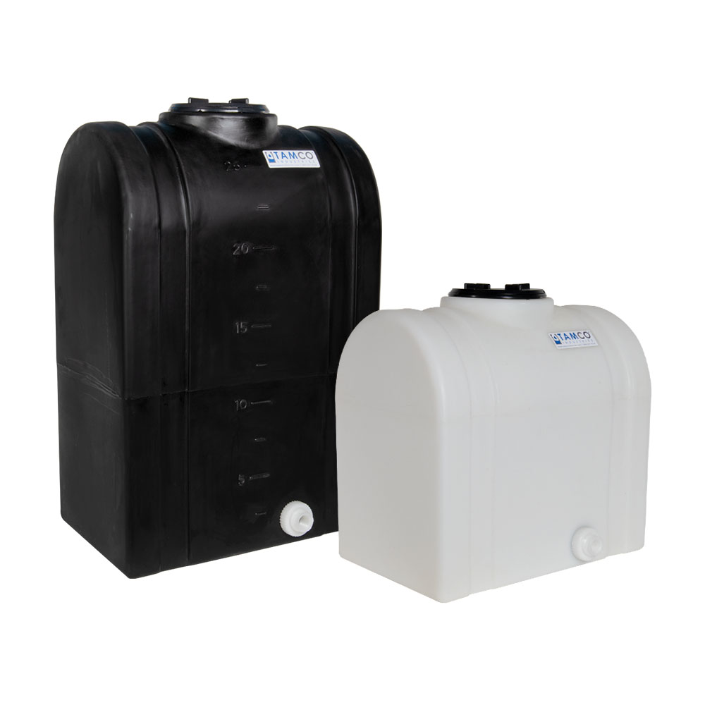 """15 Gallon Black Tamco® Loaf Tank with 5"""" Lid & 3/4"""" End Fitting - 19-3/8"""" L x 12-3/8"""" W x 21"""" Hgt."""