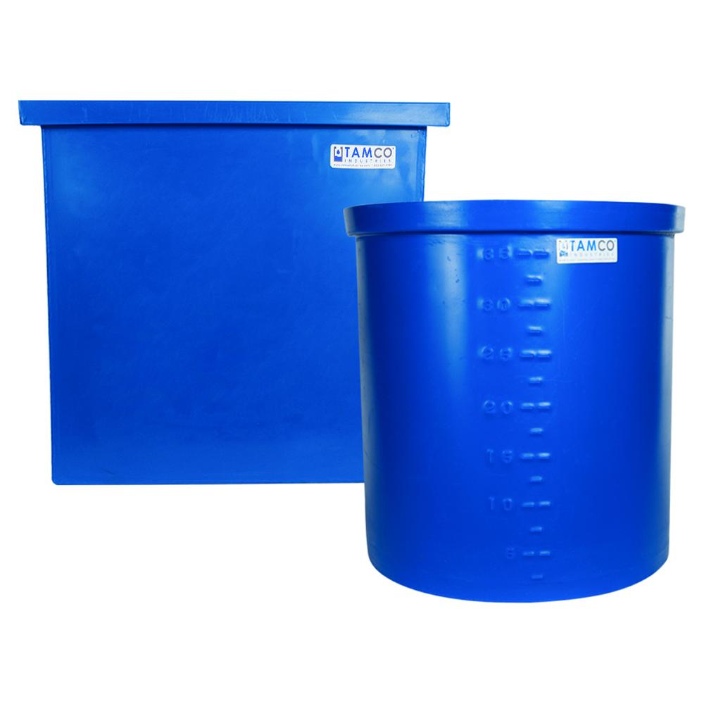 """90 Gallon Blue LLDPE Tamco® Aquaculture/Aquaponics Tank - 24"""" L x 24"""" x 36"""" Hgt."""