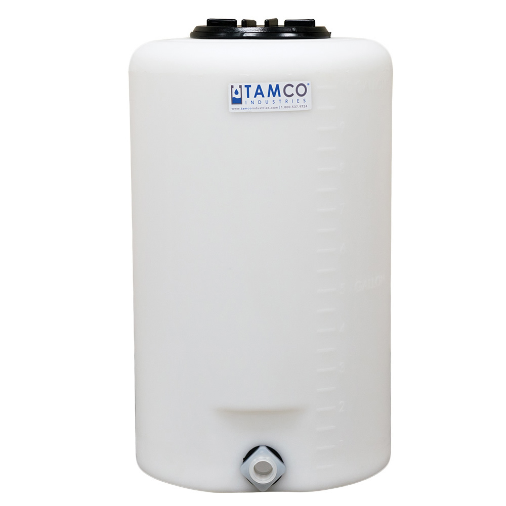 """10 Gallon Tamco® Vertical Natural PE Tank with 5.5"""" Lid & 3/4"""" Fitting - 13"""" Dia. x 22"""" High"""