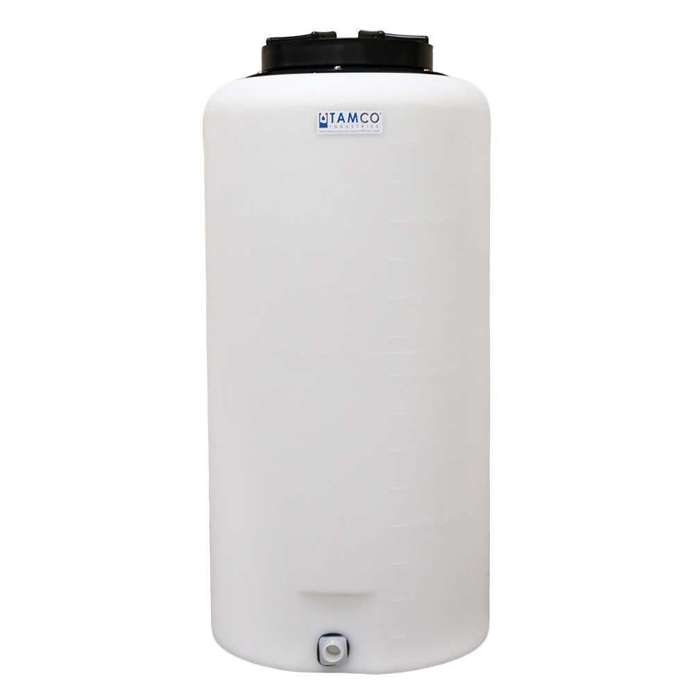 """35 Gallon Tamco® Vertical Natural PE Tank with 12.5"""" Lid & 3/4"""" Fitting - 19"""" Dia. x 39"""" High"""