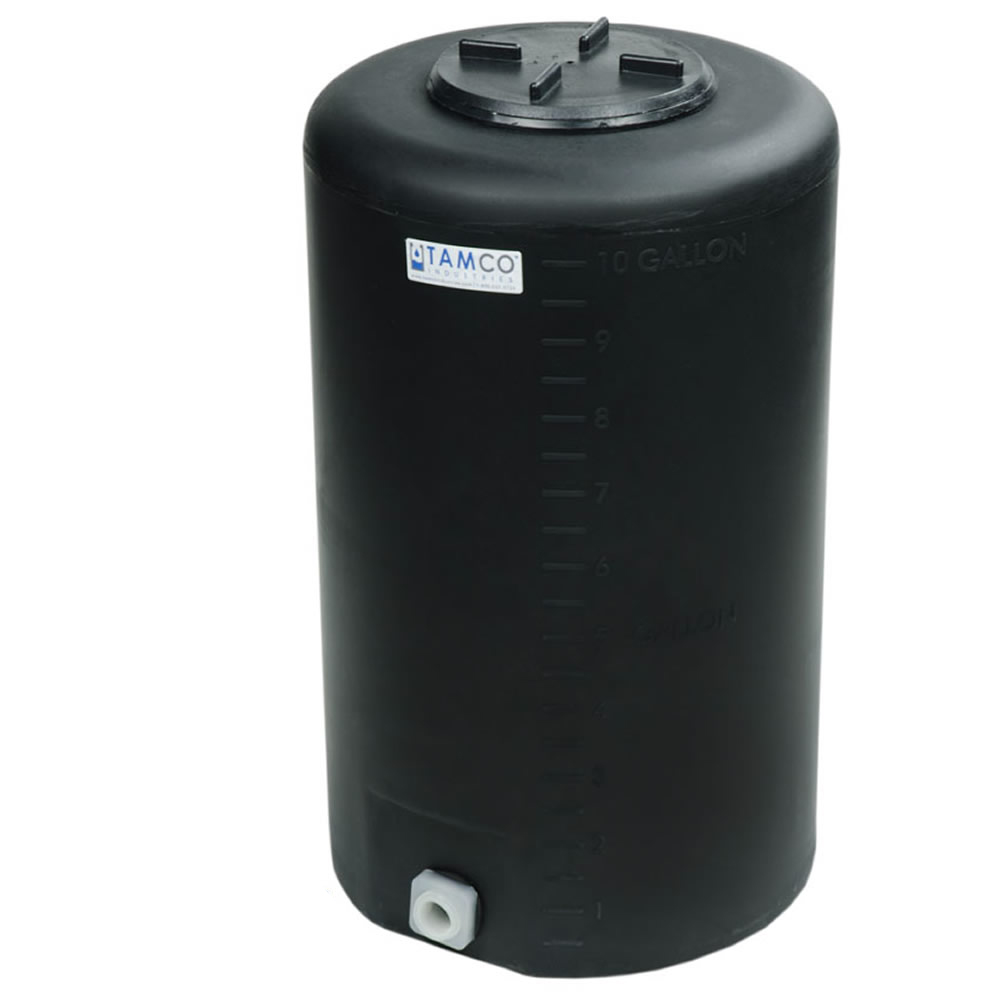 """10 Gallon Tamco® Vertical Black PE Tank with 5-1/2"""" Lid & 3/4"""" Fitting - 13"""" Dia. x 22"""" High"""
