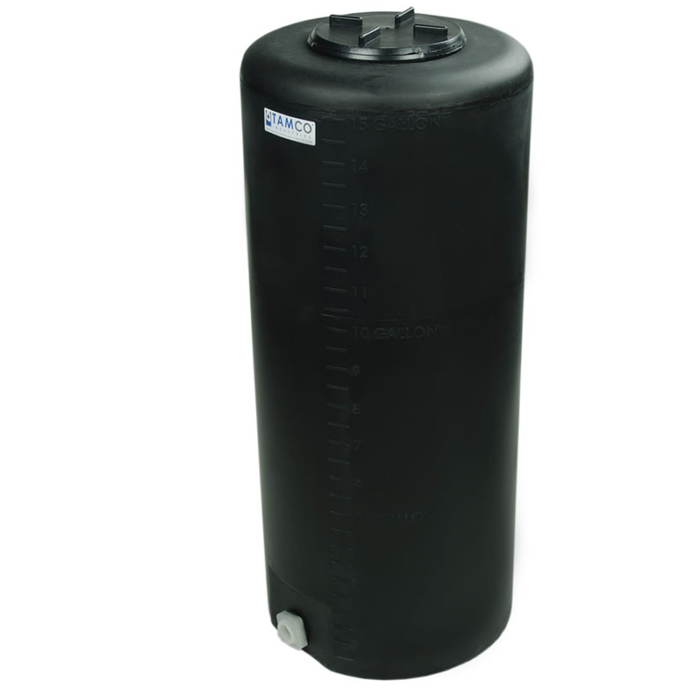 """15 Gallon Tamco® Vertical Black PE Tank with 5-1/2"""" Lid & 3/4"""" Fitting - 13"""" Dia. x 31"""" High"""