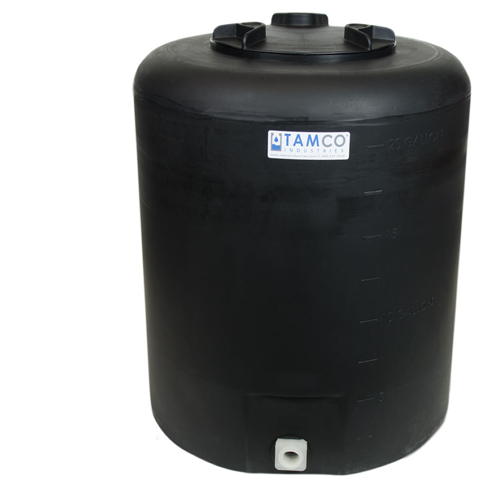 """20 Gallon Tamco® Vertical Black PE Tank with 8"""" Lid & 3/4"""" Fitting - 19"""" Dia. x 23"""" High"""