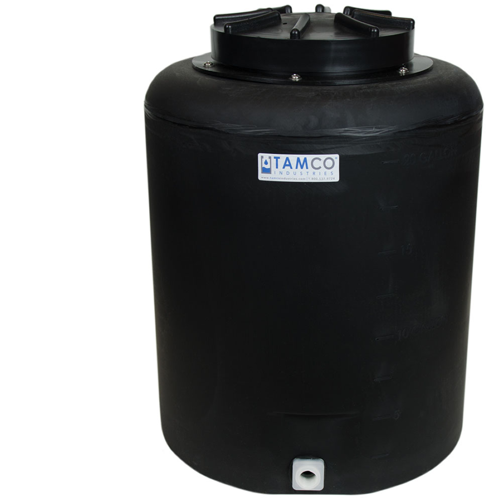 """20 Gallon Tamco® Vertical Black PE Tank with 12.5"""" Lid & 3/4"""" Fitting - 19"""" Dia. x 24"""" High"""