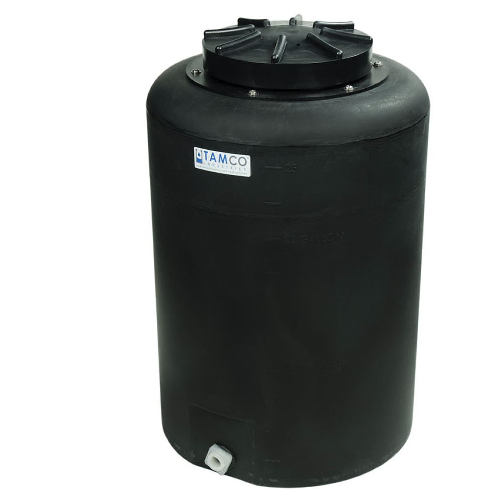 """25 Gallon Tamco® Vertical Black PE Tank with 12.5"""" Lid & 3/4"""" Fitting - 19"""" Dia. x 29"""" High"""