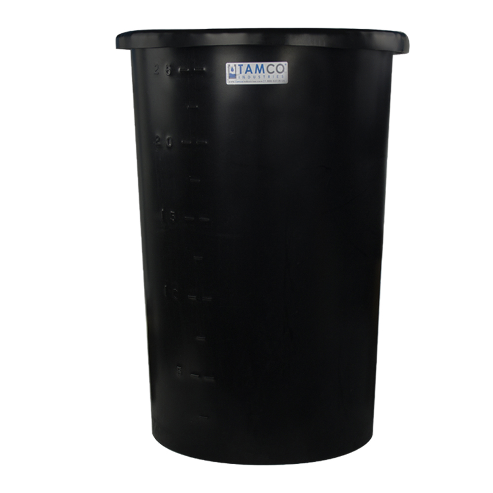 "45 Gallon Black Tapered Tank - 24"" Diameter x 34"" High"