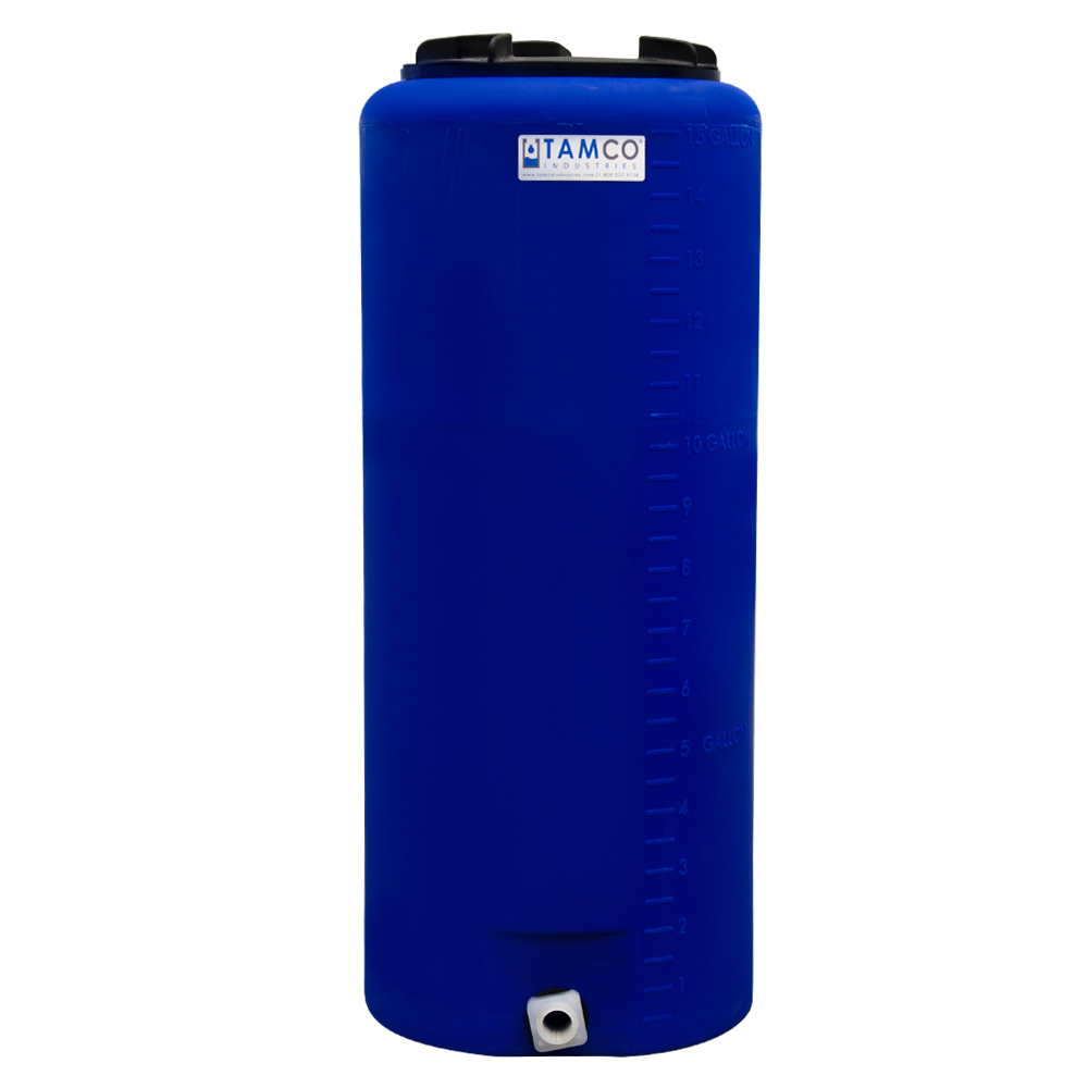 """15 Gallon Tamco® Vertical Blue PE Tank with 8"""" Lid & 3/4"""" Fitting - 13"""" Dia. x 31"""" High"""