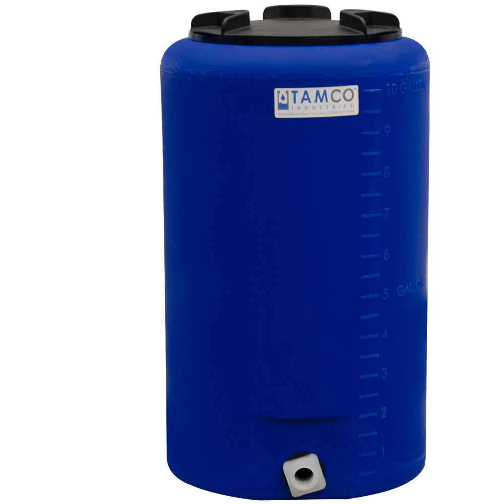 """10 Gallon Tamco® Vertical Blue PE Tank with 8"""" Lid & 3/4"""" Fitting - 13"""" Dia. x 22"""" High"""