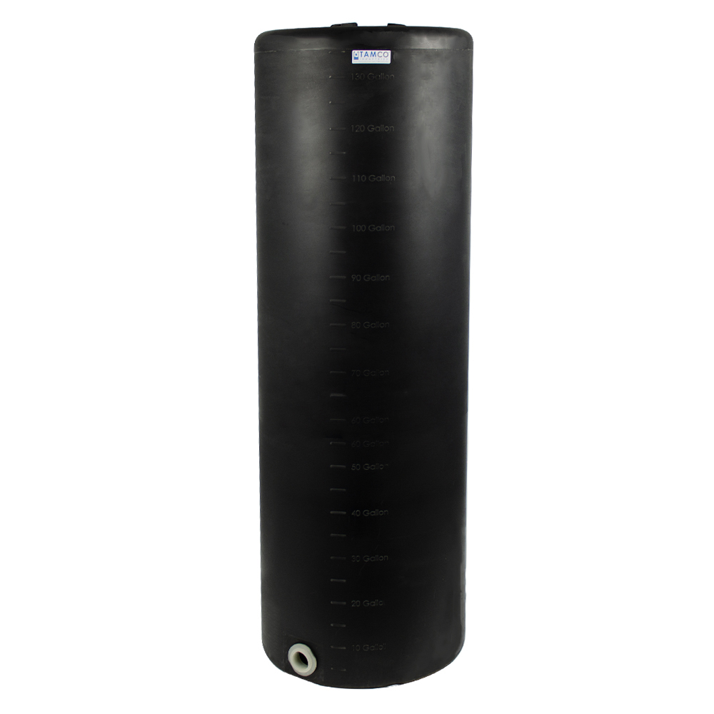 """135 Gallon Tamco® Vertical Black PE Tank with 8"""" Lid & 2"""" Fitting - 24"""" Dia. x 76"""" High"""